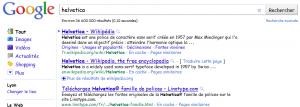 Recherche Helvetica sur Google 1er avril 2001