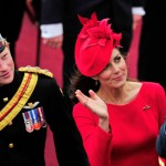 Les princes William et Harry accompagnés de la duchesse de Cambridge