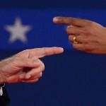 Mitt Romney et Barack Obama durant le mois d'octobre pendant la course aux élections