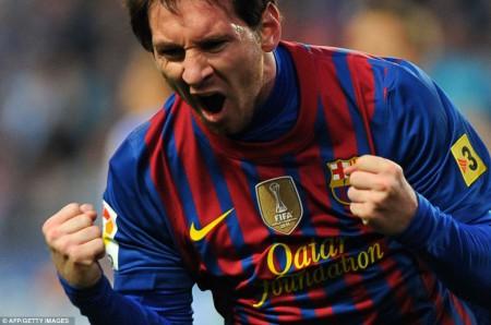 Lionel Messi après son but contre Malaga en janvier