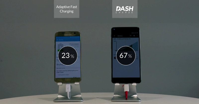 OnePlus 3 recharge rapide DASH vs Samsung Galaxy S7