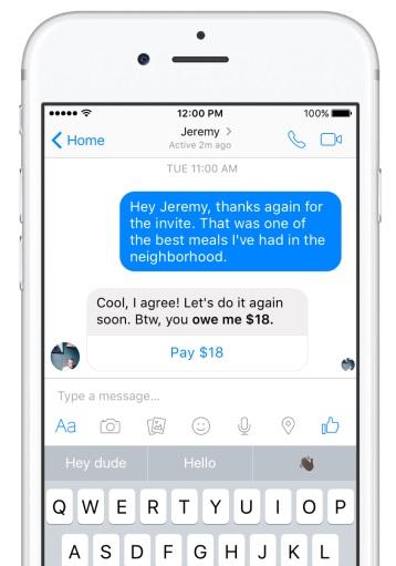 Facebook Messenger micro-transaction