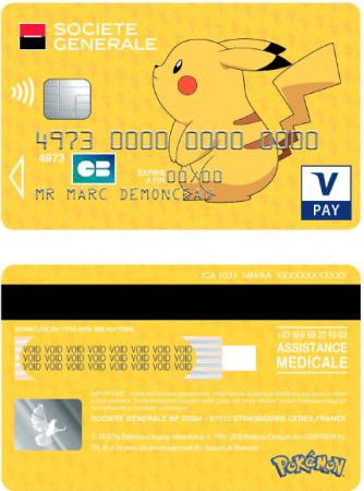 Carte bancaire Visa Pokémon Pikachu