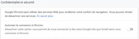 Google Chrome 70 - Connexion automatique