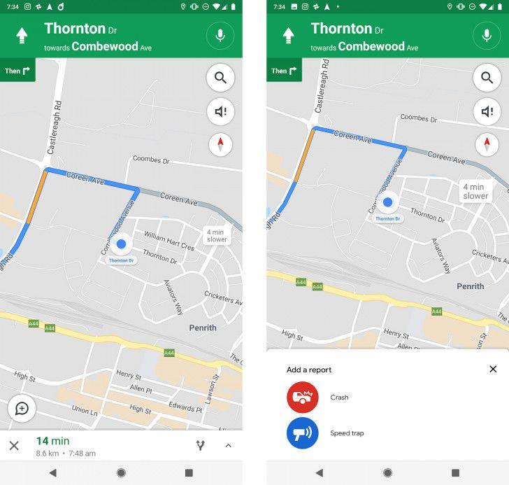 Google Maps signalement de radars